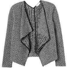 Rebecca Taylor Tuck Stitch Tweed Jacket (7333375 BYR) ❤ liked on Polyvore featuring outerwear, jackets, coats, casacos, blackwhite combo, rebecca taylor jacket, draped jacket, rebecca taylor, open front jacket and tweed jacket