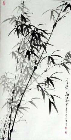 Chinese Landscape Painting, Japanese Painting, Chinese Painting, Landscape Paintings, Japanese Bamboo, Japanese Art, Ink Painting, Watercolor Art, China Art