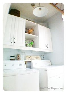 Laundry Room Remove The Ugly Wire Shelf And Replace W Basic White Cabinets For A Lovely Clean Look Home Ideas Pinterest Laundry Rooms