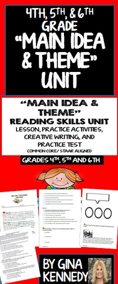 A thorough review of the important reading text structure skills, main idea and theme.. Excellent for introducing these concept, as a review, or as a reading intervention. 100% Common Core and STAAR aligned. Students will learn to identify the main ideas and theme of selections, they will identify how to look for small details to find the main idea and how to use those details to determine the theme. They will identify the theme and main idea from small passages. A bonus main idea and th...$