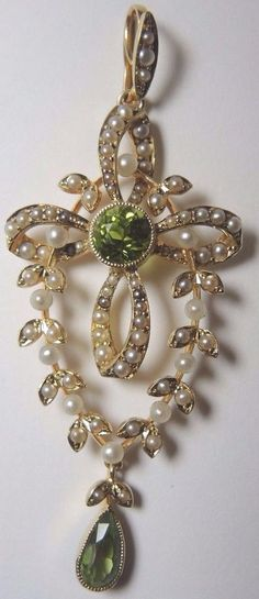 Antique Art NouVeau Peridot Seed Pearl 15CT Yellow Gold  Cross Lavalier Pendant #Pendant