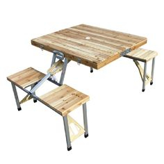 Furnitures, : Excelent Wood Top Folding Table And Wood Seat With Aluminium Frames For Picnic Activity Ideas