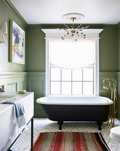 green painted walls & wainscot