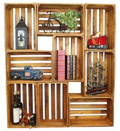 Hodgepodge Stackable Antique Style Wooden Crates Decorative Shelving