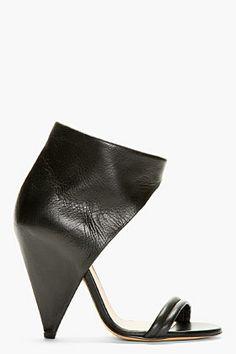 IRO Black Leather High-Top Heels - Tuba TANIK