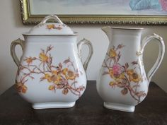 T & V Limoges France Large Creamer And Sugar Bowl Wild Yellow Roses Handpainted #TVLimoges