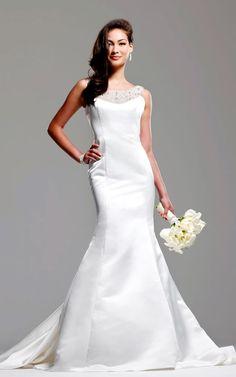Off Shoulder Neckline Bridal Gown with Beads Works Mermaid Satin dress