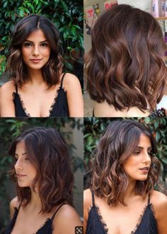 best Ideas hair color ideas for brunettes for winter curls subtle ombre Medium Hair Cuts, Medium Hair Styles, Curly Hair Styles, Medium Choppy Hair, Medium Length Hairstyles, Short Wavy Hair, Dark Ombre Short Hair, Medium Brunette Hairstyles, Round Face Short Hair