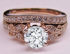 Rose Gold Diamond Butterfly Vintage Engagement Ring & Matching Wedding Band  - ES334BRBSPG