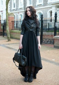 I love the cropped jacket and the long flowy dress going together. There is no visible metallic glare from anywhere. Neat outfit idea! High Gothic Fashion toned down for everyday wear.