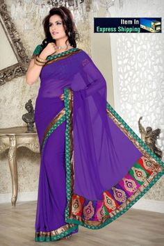 Purple Faux Chiffon Saree with Blouse Online Shopping: Purple Saree, Simple Sarees, Desi Wear, Latest Designer Sarees, Net Saree, Ethnic Wear Designer, Chiffon Saree, Georgette Sarees, Party Wear Sarees