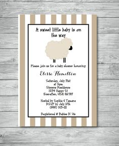 Beige Lamb Baby Shower Invitation / Sheep Baby by DragonFlyPapier