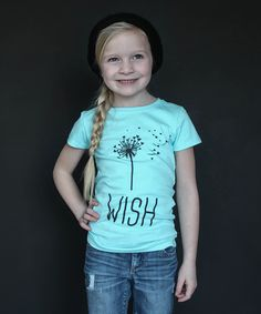 Love this The Talking Shirt Aqua 'I Wish' Fitted Tee - Girls by The Talking Shirt on #zulily! #zulilyfinds