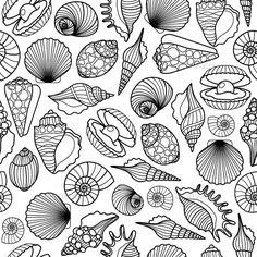 Sea Shells Black Seamless Pattern by ssstocker Hand drawn sea shells black vector seamless pattern. Shell Drawing, Doodle Art Drawing, Pattern Drawing, Pattern Art, School Coloring Pages, Painted Vans, Creative Poster Design, Art Worksheets, Art Sketchbook