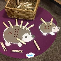 Numbers on Hedgehogs Maths Eyfs, Numeracy Activities, Eyfs Classroom, Nursery Activities, Counting Activities, Autumn Activities, Toddler Activities, Early Years Maths, Early Math