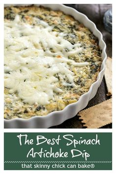 Hot Spinach Artichoke Dip - A perennial party favorite #appetizer #dip #spinachdip #gameday #thatskinnychickcanbake