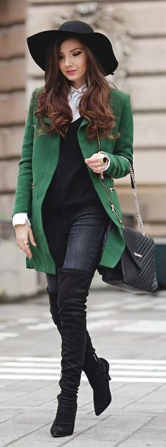 Green Zip Detail Coat