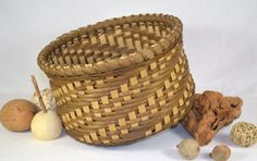 Round Table Basket Hand Woven with Natural and Smoked Reeds with Walnut Wood Base