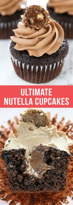 Ultimate Nutella Cupcakes are the best cupcakes EVER! #cupcakes #nutella #dessert #chocolate #bakingrecipe #dessertrecipes #food #bestcupcakes