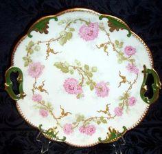 A Klingenberg C Dwenger Limoges  France Rose Plate Tray