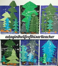 A day in the life of this art teacher: Winter Pine Trees - I like the idea of cutting the trees out in different colors and sizes to make them more dimensional.