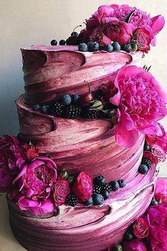 #Beautifulcolors Wedding Cake Edible Flowers, Cupcake Wedding Cakes, Colourful Wedding Cake, Chocolate Wedding Cakes, Wedding Cake Purple, Wedding Cake Flowers, Berry Wedding Cake, Strawberry Wedding, Strawberry Sorbet