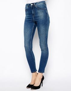 ASOS Ridley High Waist Ultra Skinny Ankle Grazer Jeans in Mid Wash Blue
