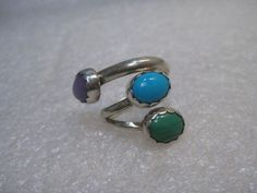 Vintage Sterling Southwestern Bypass Ring, Turquoise, Malachite, Quartz, sz. 6 #Unbranded