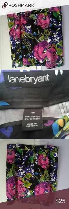 Lane Bryant floral skirt Lane Bryant women's plus size 28 black floral mini skirt. Zips up back. Great condition. Cotton and spandex.  Pk Lane Bryant Skirts Mini