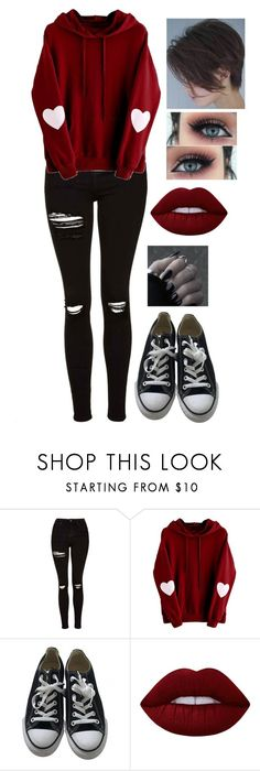 """Untitled #1091"" by delioria on Polyvore featuring Topshop, Converse and Lime Crime"