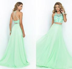 2015 New Two Peice Prom Dresses Sleeveless Beading Crop Tops A line Floor Length Chiffon Dress Formal Evening Party Dress-in Prom Dresses from Weddings & Events on Aliexpress.com | Alibaba Group