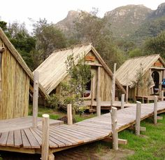 4 unique holiday destinations in South Africa! Commercial Water Slides, Slide The City, Kids Outdoor Play, Bamboo Architecture, Tent Camping, Holiday Destinations, South Africa, Cottage, Cabin