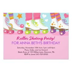 Free Roller Skate Invitation Template For The Kids Birthday