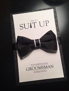Groomsman Card Time To Suit Up Bow Tie Card Your by TheHappyPaper