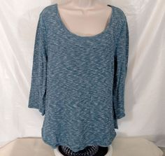 J CREW Jaspe Pullover Top Thermal Shirt Women Sz XL Heather Blue Long Slv #67691 #JCrew #KnitTop #Casual