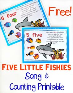 Five Little Fishies Song and Free Counting Printable - My preschoolers adore this song and counting activity. There's nothing like hearing their sweet little voices singing away as they do preschool math! Preschool Music, Free Preschool, Preschool Themes, Preschool Printables, Preschool Lessons, Preschool Activities, Number Songs Preschool, Preschool Quotes, Children Activities