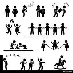 Vektor: Happy Children Playing Icon Symbol Sign Pictogram