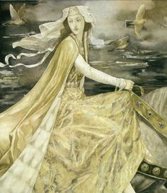 A beautiful Alan Lee illustration for the collection of Welsh legends, The Mabinogion. I do not own this picture. This illustration will be used for teaching purposes. Alan Lee, Celtic Goddess, Celtic Mythology, Fantasy Kunst, Fantasy Art, Stevie Nicks, Gods And Goddesses, Ancient Goddesses, Tolkien
