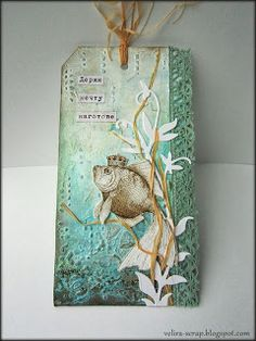 A very lovely fish tag. Collage. Скраповое настроение - Artist used acrylic paint, stencils, cutting, lace, microbeads, printouts.