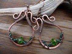 Copper Boho Earrings, Wire Wrapped Green Beaded Earring, Bohemian Dangle Earrings, Copper Jewelry Handmade Earring Jewlery