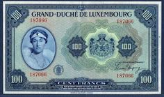 luxembourg francs | ... luxembourg 100 francs banknote of 1944 luxembourg banknotes luxembourg