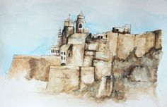 Water colour and pen of the Citadel of Victoria, Gozo, Malta. Created by Admiral Salt
