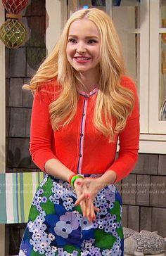 Liv's blue and green floral skirt and coral cardigan on Liv and Maddie Dove Cameron Descendants, Liv Rooney, Dove Cameron Style, Coral Cardigan, Band Outfits, Chloe, Beautiful Costumes, Chiffon Ruffle, Other Outfits