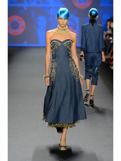 Anna Sui strapless sweetheart denim dress with gold beading and gold tulle petticoat shown during Mercedes Benz Fashion Week Spring/Summer 2013 in New York City. #NYFW #models