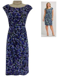 14 Large XL SEXY Womens BLUE/PURPLE BUBBLE PRINT FAUX-WRAP DRESS Summer Party #Dressbarndbsignature #FauxWrap #Versatile