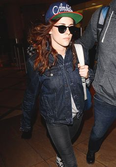 Cap / denim jacket / kristen stewart
