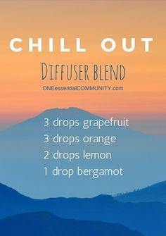 Need to relax a little? Need to find your happy place? Try this Chill Out essential oil diffuser blend {with grapefruit, orange, lemon and bergamot-- it smells amazing!!}