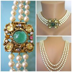 Backdrop Necklace, Statement Necklace, Long Pearl Necklace, Great Gatsby by CrystalPearlJewelry on Etsy, $93