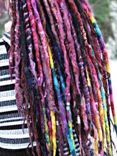 Rainbow dreads! #wrapped  Dreads by Art locs, wool dread extensions  Can be found on Facebook; https://www.facebook.com/artlocs?fref=ts