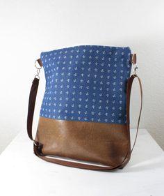 Tasche mit Ankermuster, maritim // bag with anchor print by niemalsmehrohne via DaWanda.com